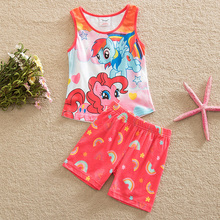 Flags summer 2015 pony bao li pattern stripe printed cotton short sleeve clothes for girls sleeveless jacket pants suit TZ19001