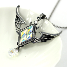 Retro Gothic wings color box crystal pendant ancient silver jewelry jewelry ladies fashion necklace dress jewelry Christmas gift(China)