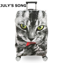 Sharp Eyes Cat Printing Suitcase Protective Covers 18-32''Travel Accessories Waterproof Luggage Cover Elastic Trolley Case Cover(China)
