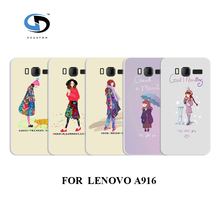 vcustom design Cell phone cases cover white hard cases for Lenovo A916 the girl in rain Fashion phone Back Cover(China)