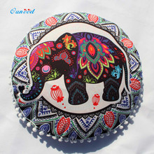 Ouneed Colorful Elephant Indian Mandala Floor Pillows Cover Round Bohemian 43*43cm Home Living Room Bed Decorative Pillow Cases