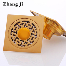 Free shipping Brass bathroom Drains 4'' modern square floor drain Four kinds of shower waste drainer dual-purpose drain ZJ068