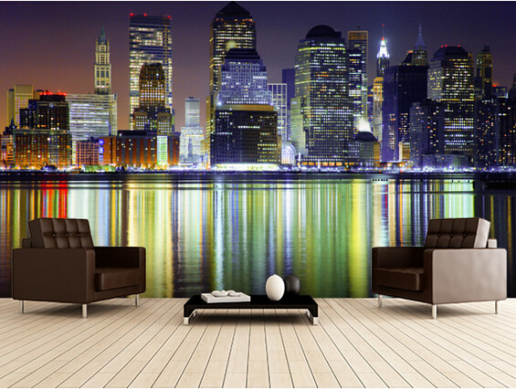 Custom photo wallpaper, New York city night landscape murals for apartments, residential, office wall waterproof wallpaper<br>