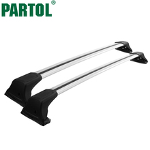 "Partol 2pcs/set 49"" Universal Aluminum Car Roof Rack Cross Bar Crossbars Kayak Luggage Bike Carrier Fit Cars Without Side Rails(China)"