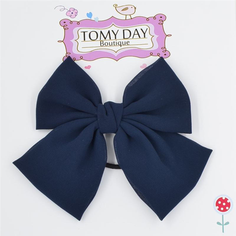 big bow 7 inch Elastic Hair Bands Solid Color chiffon bow tie PonyTail Holder Hair Bow Hairband for women girls Hair Accessories(China (Mainland))