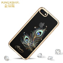 For iPhone 8 Case Original KINGXBAR Authorized Swarovski Crystal Plating PC Hard Cover for iPhone 8 / 7 4.7 inch(China)