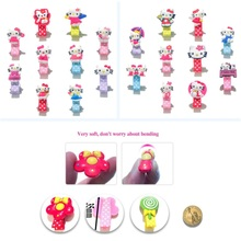 10pcs Cute Kitty Cartoon PVC Pink Blue Red Hairpins Barrette Well Protect Hair Clips Cloth Wrapped Dot Printing Accessories(China)