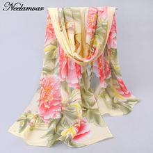 2017 new fashion chiffon scarf women shawl silk scarves Spring and autumn Peony flower leaves pattern scarves wholesale cachecol(China)