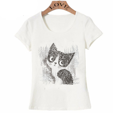 New summer fashion Women's short sleeve Light painted cat print T-Shirt white High Quality lady Tops animal design girl Tees