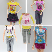 5set clothes for barbie doll dress jacket outfit pants outwear suit set coat clothes gift set eg015