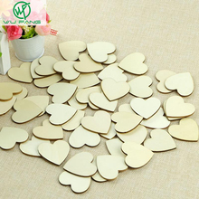 4cm (120pcs/lot) Blank unfinished wooden heart crafts supplies laser cut rustic wood wedding rings ornaments(China)
