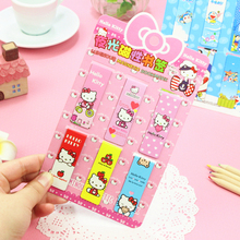 D05 1 Pack 6PCS Cute Hello Kitty Luminous Magnet Bookmarks Paper Clip School Office Supplies Escolar Papelaria Gift Stationery