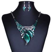 2017 European Fashion Classic Multicolor Leaves Enamel Maxi Necklace Rhinestone CZ For Women Jewellery Colorful mujer bijoux Hot