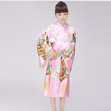 New Fashion Japanese Girl Kimono Dress With Obi Traditional Yukata Child Stage Performance Dance Dress Kid Cosplay Costume