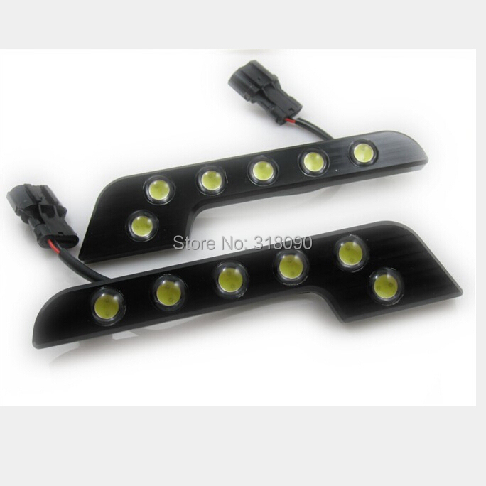 2pcs/set White 6LED Universal Car 12W  DRL Day Running Lights lamp with turn signal china wholesale retail<br><br>Aliexpress