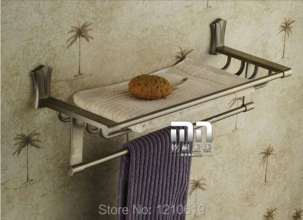Wholesale And Retail Euro Vintage Fashion Antique Brass Bathroom Towel Shelf With Towel Bar Wall-mounted<br><br>Aliexpress