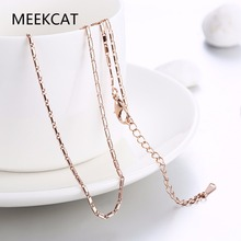 MEEKCAT Women's 1.5mm Round chain 18'' 46+5cm style Chains necklace golden Color fashion jewelry section gift pouches free