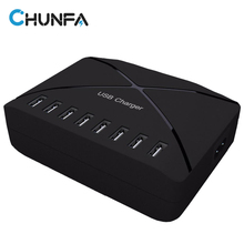 8 Ports Multi EU USB Charger Dock Station 40W Mobile Phone Charge Black Fast Charger Universal USB Adapter Desktop Charging(China)