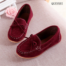 QGXSSHI Children's shoes 2016 Autumn Casual flat Sneakers girls Leather Shoes boys Sneakers kids casual shoes baby boat shoes(China)