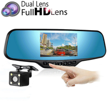 "4.3""LCD Rearview Mirror Camera Full HD 1080P Middle Len Car DVR With Rear View Camera Parking Function Dash Cam Night Vision(China)"
