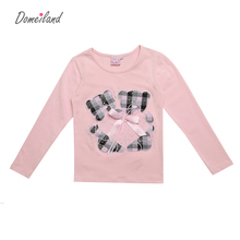 2017 Fashion spring Kids Clothing For brand domeiland Long Sleeve Girls T shirts Plaid Rhinestone Bow Cute Coton Top Clothes(China)
