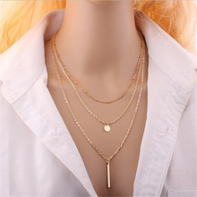 Star Jewelry Wholesale  New Design Maxi Necklace Fashion Sequins Multilayer Metal Strip Statement Necklaces & Pendants