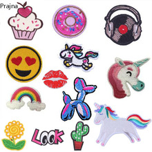 Prajna Anime Cat Unicorn Dog Patch Cheap Embroidered Cute Cartoon Patches Sew Iron On Patches For Clothes Badges DIY Applique(China)