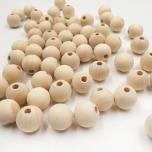 100PCs Natural Ball Wood Spacer Beads 6-16mm For Charm Bracelet Wholesale baby wood beads jewelry DIY wooden necklace(China)