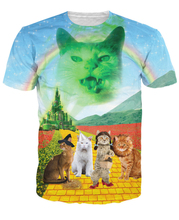 3d wonderful Wizard of Paws T-Shirt rainbow tees tops Outerwear Summer Style Fashion Clothing t shirt For Unisex Women Men(China)