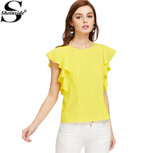 Sheinside Yellow Cute Blouses Women 2017 Flutter Cap Sleeve Brief Elegant Summer Tops Fashion Casual O Neck Ruffle Ladies Blouse