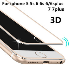 Front Screen Protector for iPhone 7 5 5s 6 /7 Plus Tempered Glass Full Cover 3D Full Curved Edge Titanium Protective Film case
