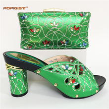 Lastest design Italian party shoes and bag matching set decorated with colorful crystal high quality PU leather shoes with bag