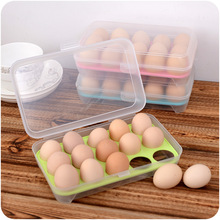 15 Grids Refrigerator Egg Boxes Food Preservation Boxes Kitchen Transparent Plastic Boxes Egg Storage Box(China)