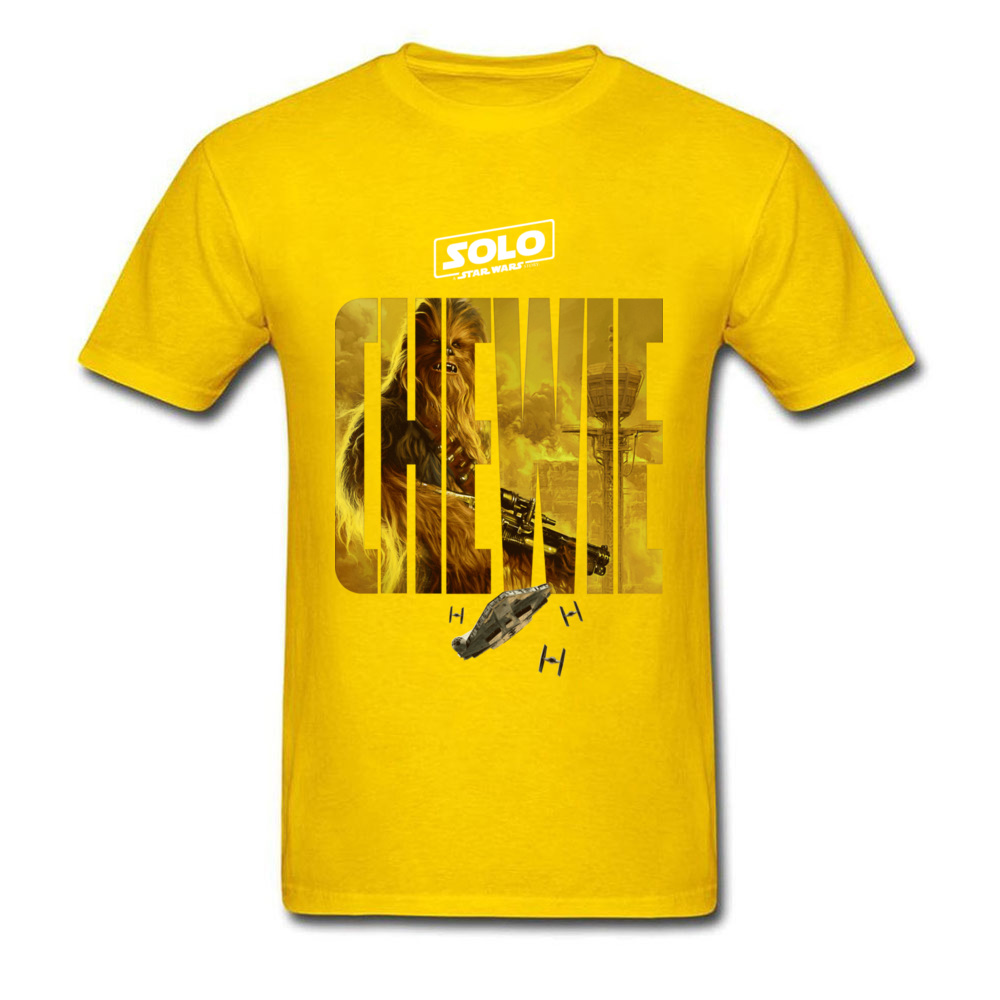 100% Cotton Fabric Men Short Sleeve Star War Chewie Poster T Shirts Casual Tops Tees Funny Street Crew Neck Tee Shirts Chewie Poster yellow