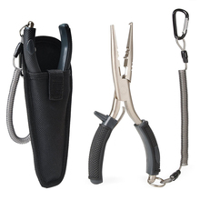 F3 stainless fishing pliers tools can split rings split shot sleeve crimper and turning lure with coiled lanyard(China)