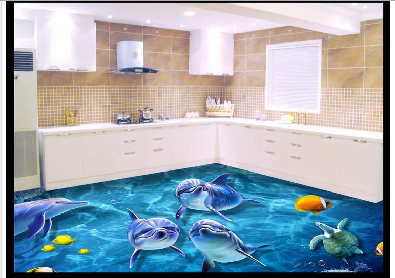 Custom photo Waterproof floor wallpaper 3 d floor tile map 3d mural PVC wallpaper self-adhesion floor wallpaer<br>