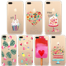 Colorful Charming Cake Donut Macaron Ice Cream Flowers Heart For iphone 5 5s SE 6 6s 7 Plus Clear Silicon Soft TPU Covers