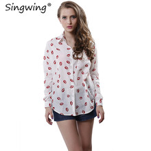 Singwing Women Kisses Red Lip Clothing Shirts Kiss Red Lip Printed Blouses Women's Tops Long Sleeve Shirt with Pockets Top(China)