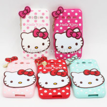 New Brand Cute Hello Kitty Bow Heart Charm Polka Dot Soft Silicone Back Case For Samsung Galaxy Core II 2 G355H Cell Phone Cover