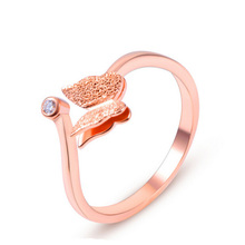 New Fashion Hot Sale Elegant Titanium Steel Rose Gold Color Crystal Butterfly Rings For Women use for Party Engagement