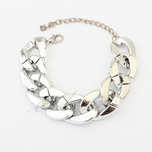 Fashion Women's Golden/Silver Chunky Curb Chain Link Plastic Bracelet #Y51#