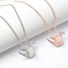 Hot Simple Origami Bird Pendant Necklace Suspend Creative Minimalist Animal Childlike Rose Gold Or Silver 3D Jewelry