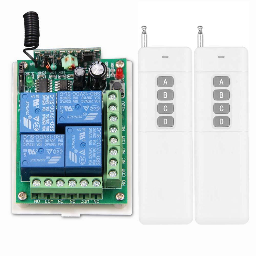 3000M DC 12V 24V 4 CH 4CH RF Wireless Remote Control Switch System,2X Transmitter +Receiver,315/433MHZ,Self-lock Jog Inter-lock<br><br>Aliexpress