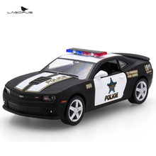 1:38 Scale Car Toys Chevrolet Camaro Police Edition Diecast Metal Pull Back Car Model Toy Collection Gift For Kids New