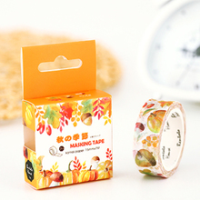1pcs Golden Autumn Season Lotkawaii Flower Food Animals Decorative Washi Tape DIY Scrapbooking Masking Tape School Office Supply(China)