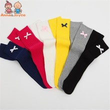 Spring and Autumn Double Needle Pure Color Baby 's Socks Bow Princess Children's Knee Socks TWS0338(China)