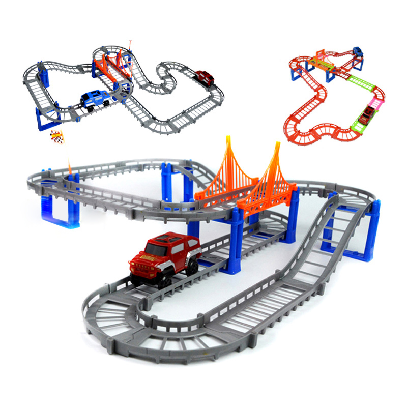 Double Tracks Electric Rail Train Thomas And Friends Railway Track Boy Toy Car Hot Wheels Cars Machines Kids Toys for Children(China)