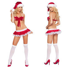Sexy Ladies Lingerie Christmas Bikini Set Women Naughty Santa Cosplay Costume(China)