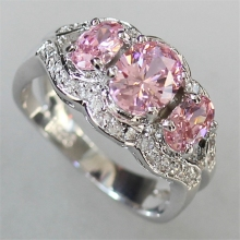Brand New Bezel Setting Rhodium Plated Rings Pink Cubic Zirconia R556 Size #6 7 8 9 Noble Generous Explosion models Rave reviews