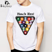 Track Ship+New Vintage Retro Cool novelty Punk T-shirt Top Tee Rack Em! Pool Balls Billiards men t shirts(China)